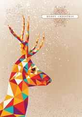 Canvas Prints Geometric animals Merry Christmas colorful reindeer shape.