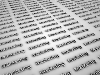 The word marketing on a white floor