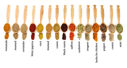 Fotorolgordijn Kruiden 2 Many different spices with their name in wooden spoons isolated
