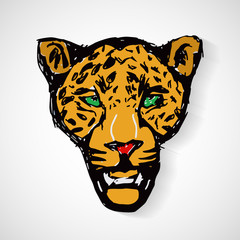 Art cartoon tiger head, vector format