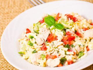 fresh salad with chicken and vegetables