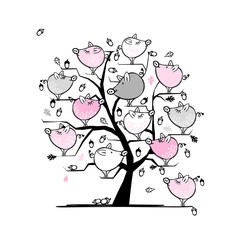 Funny pigs family on tree for your design