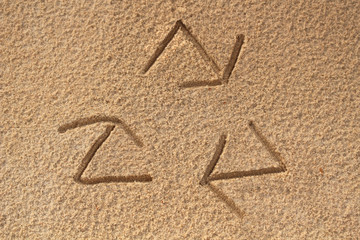 recycle symbol written(drawn) in beach sand - concept photo