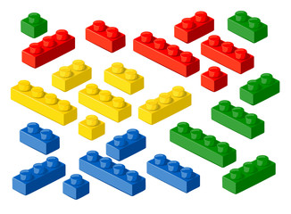 Plastic blocks. Vector design elements.