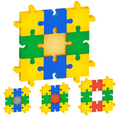 Set of puzzles, different colors the middle