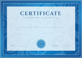 Blue Certificate / Diploma template (design). Floral pattern