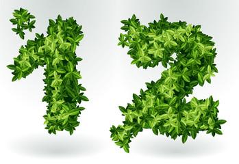 Figures 1,2. Green leaves summer vector alphabet.