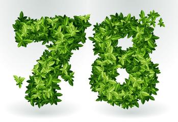Figures 7,8. Green leaves summer vector alphabet.