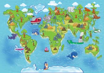 Naklejka premium mapa świata dzieci