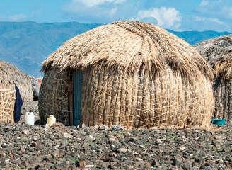 African huts, Lake Turkana, Kenya Wall mural