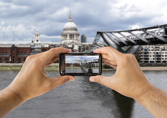 photographing at ST Paul Cathedral and  Millennium Bridge