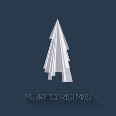 Abstract Christmas Tree from Triangles on Blue