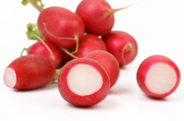 fresh radishes on white