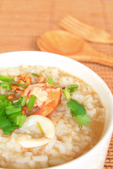 Asian style breakfast soft boiled rice, rice soup