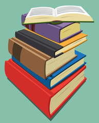 Stack of books in various colors and sizes