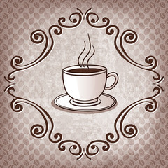 cup of coffee on coffee beans background - vector illustration