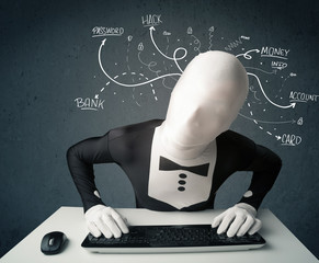 Morphsuit hacker with white drawn line thoughts