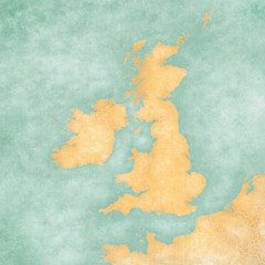 Map of British Isles - Blank Map (Vintage Series)