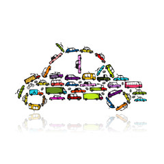 Car shape made from transport for your design