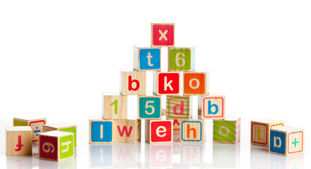 wooden toy cubes with letters.  Wooden alphabet blocks.