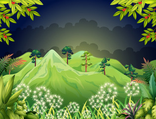 High mountains at the dark forest