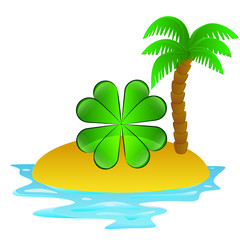 lonely tropical island with happy cloverleaf concept vector