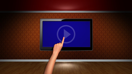 Room and Monitor, with Hand Click, and Blue Screen