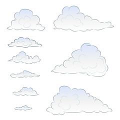 light blue cloudy vector set