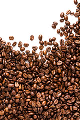 Roasted Coffee Beans  background or texture with white copy spac