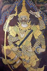 Mural of Ramayana in Wat Pra Kaew, Bangkok, Thailand