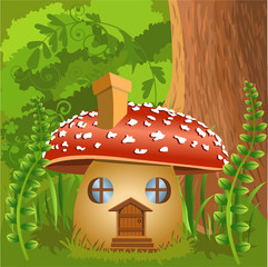 mushroom house in the forest