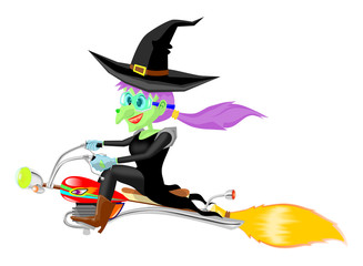 Witch fly with motor bloomstick