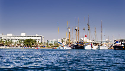Moored yachts in marina of Eilat – famous resort of Israel