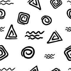 Seamless pattern with colorful geometric figures