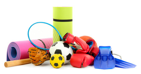 Sport equipment isolated on white