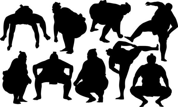 Sumo wrestlers silhouette