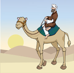 Cartoon Arab man riding a camel vector illustration