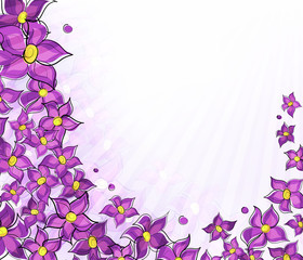 Lilac background.