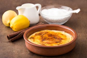Traditional creme brulee on ceramic dish