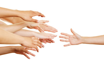 Many arms reaching for helping hand