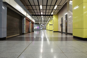 Wide angle view of modern metro station