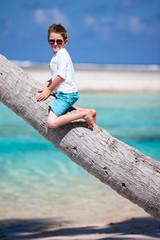 Boy sitting on a palm