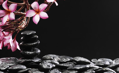 Fotobehang Spa Spa concept –frangipani with Stones tower