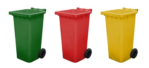 Green red and yellow garbage bins