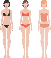 Vector illustration of woman's fashion figures