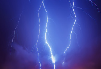 Lightning in a stormy sky