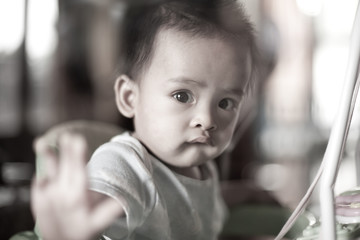 Baby behind mirror