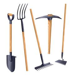 Gardening groundworks tools. Vector.