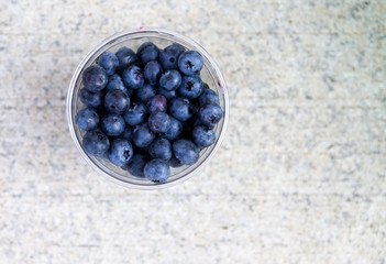 Blueberries in a plastic cup