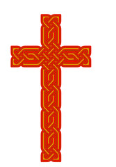 Celtic knot style cross, isolated